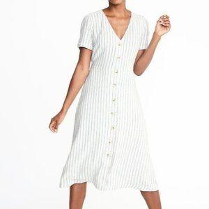 Old Navy Linen-Blend Fit & Flare Midi Dress